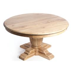 "Vineyard Farm House Trestle Base 60"" Round Dining Table with Leaves 