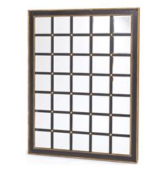 Large Black Gold Hand Painted Grid Wall Mirror