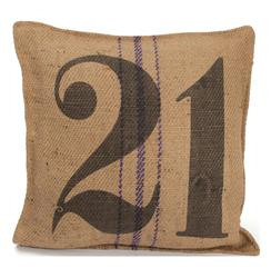 Vintage Burlap Sack Printed Toss Pillow- Number 21