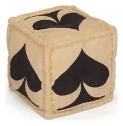 Hand Dyed House of Cards Black Spade Kilim Cube Ottoman