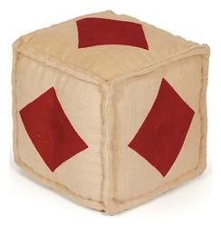 Hand Dyed House of Cards Diamond Kilim Cube Ottoman