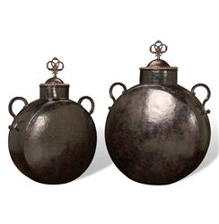 Set of 2 Mathura Rustic Hammered Iron Decorative Floor Urns | 85622