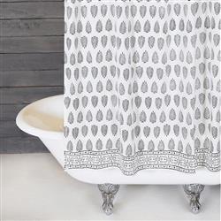 Pom Pom French Country Kiara White Cotton Black Detailed Shower Curtain