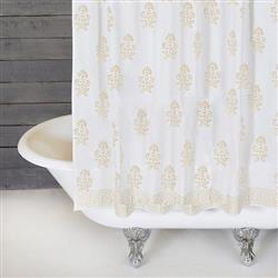 Pom Pom French Country Bahaar Gold Cotton Shower Curtain