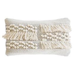 Pom Pom French Country Zahra Hand Woven Pillow - White Grey