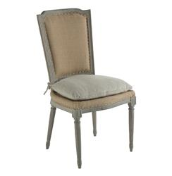 Pair Ethan French Country Rustic Hemp Dining Chair with Seat Cushion