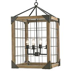 Foster Industrial Loft Square Wood Lantern Pendant Lamp | Kathy Kuo Home