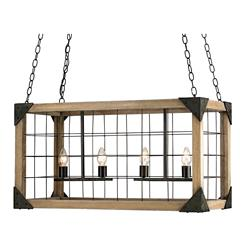 Foster Industrial Loft Rectangle Wood Lantern Pendant Lamp