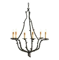 Serendipity Rustic Wrought Iron Branch 6 Light Chandelier