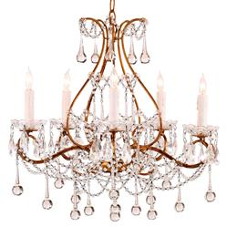 Prasto Faceted Teardrop Swag Style Crystal 5 Light Chandelier