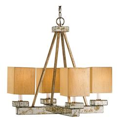 Mid Century Modern 4 Light Chandelier with Antique Mirror