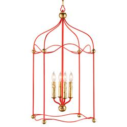 Carousel Red and Gold Birdcage 4 Light Pendant Lantern | CC-9033