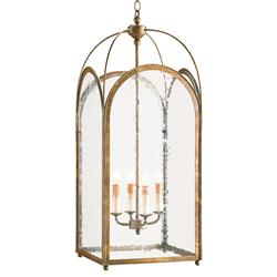 Valprima Aged Gold Hanging Lantern 4 Light Chandelier