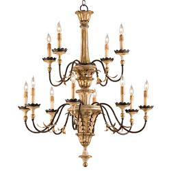 Matera Carved Italianate 12 Light Gold Leaf Palazzo Chandelier
