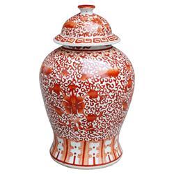 Anwen Coastal Beach Coral Red Porcelain Twisted Lotus Temple Jar