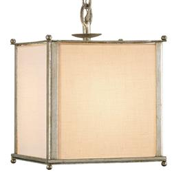 Wayland Contemporary Silver Leaf Square Pendant with Linen Shade