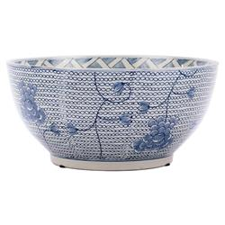 Sam Modern Classic Round Blue and White Porcelain Chain Bowl