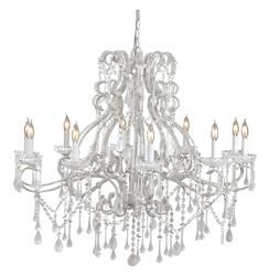 La Boheme Ornate Murano White 10 Light Crystal Grande Chandelier