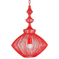 Parker Red Mid Century Modern Strung Steel Wire Pendant Light