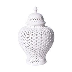 Scipio Modern Classic White Lattice Porcelain Lidded Ginger Jar