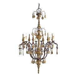 Dover Distressed Silver Leaf 6 Light Wrought Iron Wood Chandelier | CC-9074