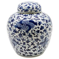 Clea Modern Classic Blue and White Porcelain Pomegranate Lidded Jar