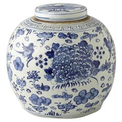 Azalea Modern Classic Blue and White Porcelain Swallows Flowers Ancestor Jar