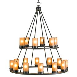 Black Wrought Iron Rustic Lodge Tiered 18 Light Candle Chandelier