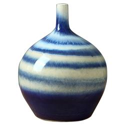 Ari Modern Classic Blue and White Horizontal Stripe Porcelain Vase - Small 10in