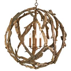 Driftwood Iron Modern Rustic 3 Light Orb Chandelier