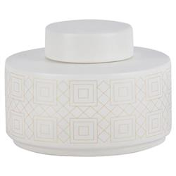 Ashlynn Modern Classic Geometric Detail White Porcelain Vase - Small 5in