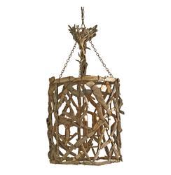 Driftwood Iron Modern Rustic  4 Light Round Pendant