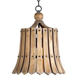 Vintage Style Frutier Wood Slat Bell Pendant Light