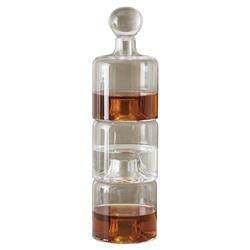 Malia Modern Classic Clear Glass Triple Stacking Decanter