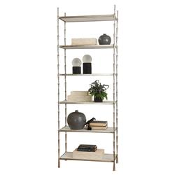 Lexi Modern 6-Layer White Marble Shelves Metal Spike Display Case - Silver