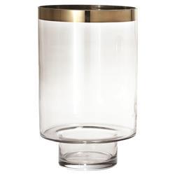 Kaleb Modern Classic Smoke Glass Gold Rim Hurricane Candleholder- Small