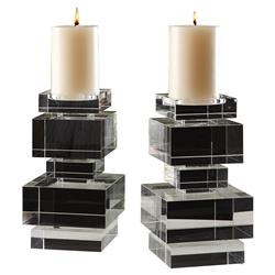 Paige Modern Classic Clear Crystal Blocks Candleholder