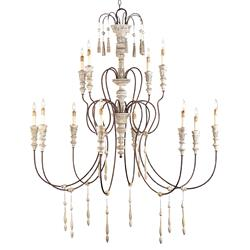 Katrine Gustavian Iron and Wood Formal Chandelier - 53 Inch