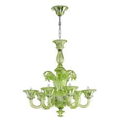 La Scala 30 Inch Pale Green Murano Glass Style 6 Light Chandelier