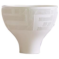 Deke Modern Classic Amphora White Textured Ceramic Decorative Bowl