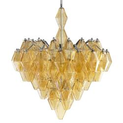 Boho Modern Retro Deco Amber Diamond Drop 6 Light Chandelier | CYAN-05034