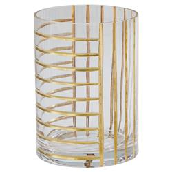 Kyle Modern Classic Cylinder Clear Glass Gold Grid Decorative Vase - Small