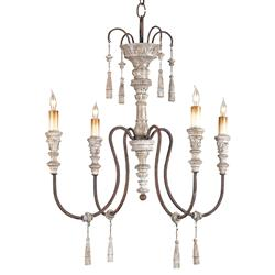 Katrine Gustavian Iron and Wood Chandelier - 22 Inch
