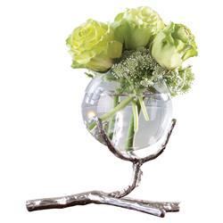 Dawt Modern Classic Metal Twig Glass Ball Vase Holder - Silver