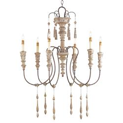 Katrine Gustavian Iron and Wood Chandelier - 33 Inch