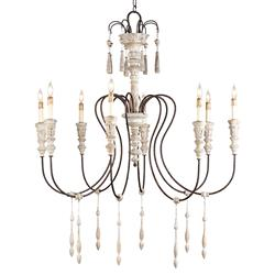 Katrine Gustavian Iron and Wood Chandelier - 40 Inch
