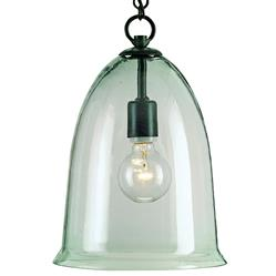 Hector Recycled Glass Industrial Rustic Bell Pendant Lamp | CC-9122