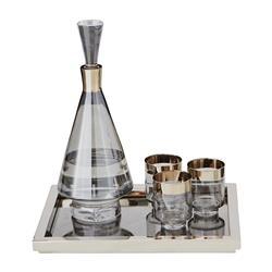 Carlos Modern Classic Smoke Glass Silver Band Drinking Glasses - Short - Set of 4