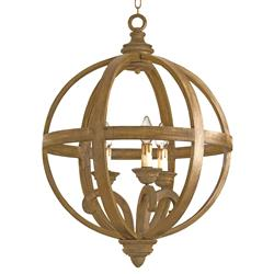 Drexel Curved Wooden Orb 3 Light Chandelier - 24 Inch