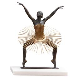 Deleon Modern Black Beauty Ballerina Gold Detail White Marble Statue
